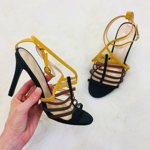C. Label Strappy High Heels | Yellow Brown Black
